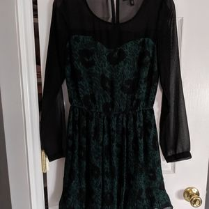 Beautiful sheer black and green dress
